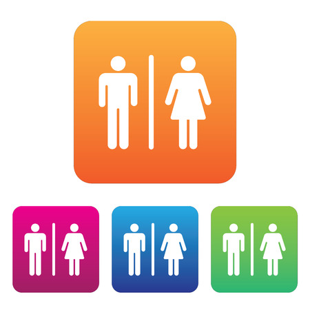 Male Female Restroom Symbol Icon with Color Variations. Иллюстрация