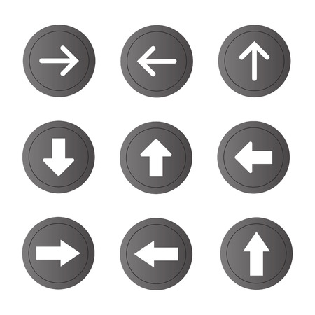 satin round: Arrow sign vector icon set. Simple circle shape internet button.