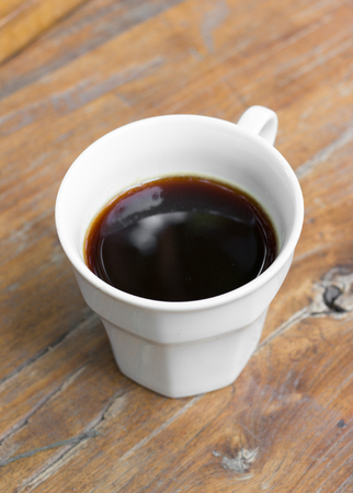 americano: Americano black coffee in a white cup. Stock Photo