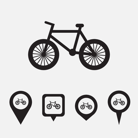 Map pointer with bicycle icon. Vector illustration Vector