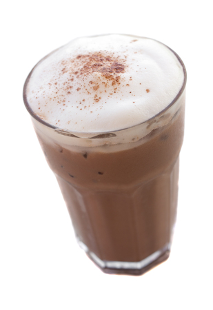 tall glass: Ice chocolate drink in decorated tall glass Stock Photo
