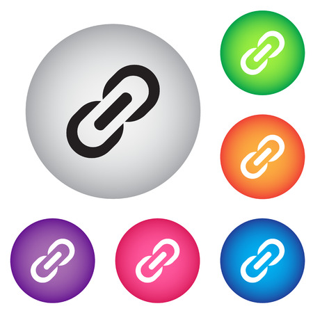 hyperlink: Link sign icon. Hyperlink chain symbol. Round colourful buttons. Illustration