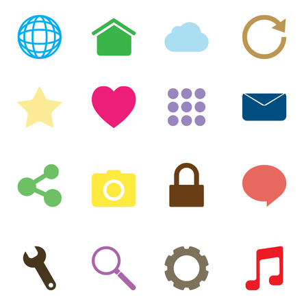 16 icons set for web and mobile phone. Vector