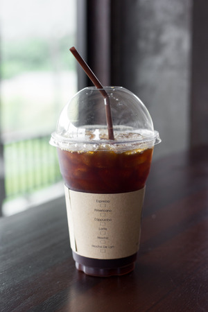 bash: Delicious , ice coffee americano in cafe.
