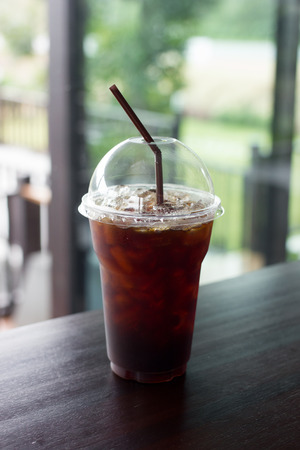 Delicious , ice coffee americano in cafe.