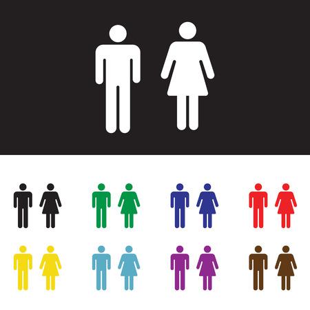 femme noire nue: Toilettes, wc, signe de toilettes isol� sur fond blanc Illustration