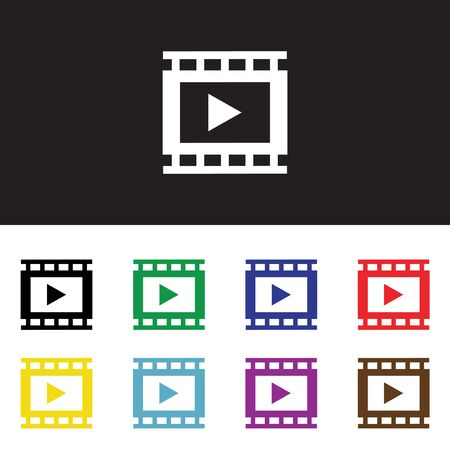 windows media video: Simple abstracto icono de reproductor de v�deo. Ilustraci�n del vector.