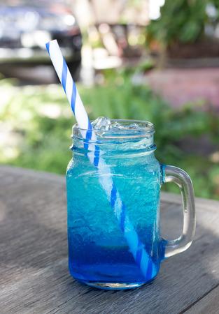 blue hawaiian drink: Blue Hawaiian lime soda , in cafe.
