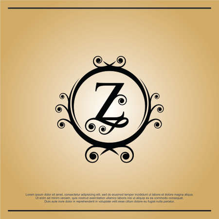 Letters Z Logo Monogram with the concept of elegant leafs. Modern design with luxurious black coloring. - Vector file. Иллюстрация