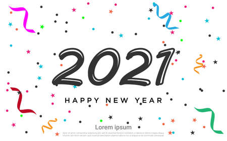Happy new 2021 year colorful background