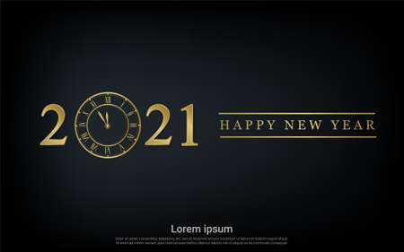 Happy new 2021 year with gold watch background Vettoriali