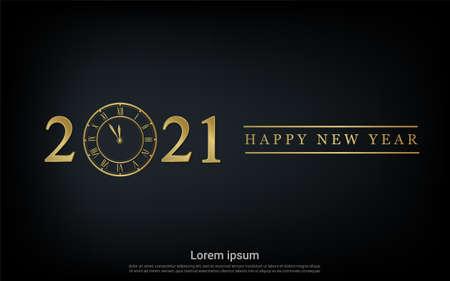 Happy new 2021 year with gold watch background Vektorgrafik