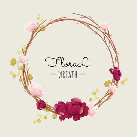 Floral wreath in watercolor style Vector illustration.