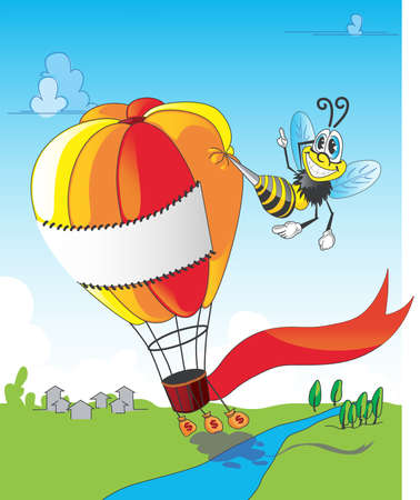 Bee and balloon Vector