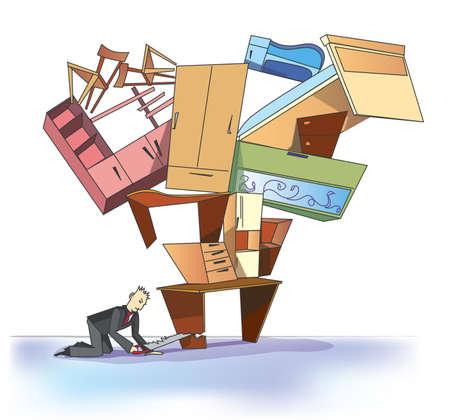 businessman and furniture  Illustration