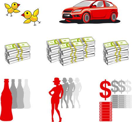 girl, car, money, icons Illustration