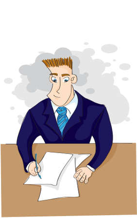 signing papers: businessman signs a paper Illustration