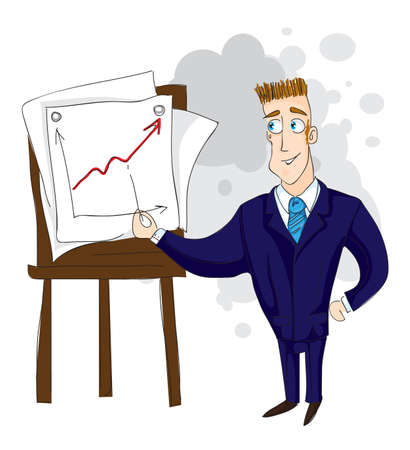 whiteboard: zaken man leidt een lezing