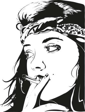 girl smoke cigarette Stock fotó - 34537674