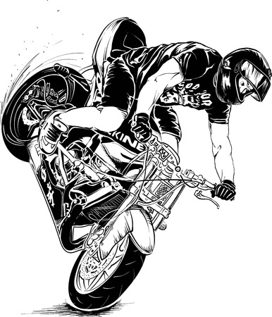 motorcycle stunt Illustration