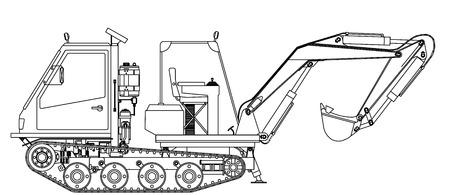 road grader: Excavator Illustration