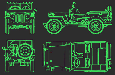car technical drawing background Vector