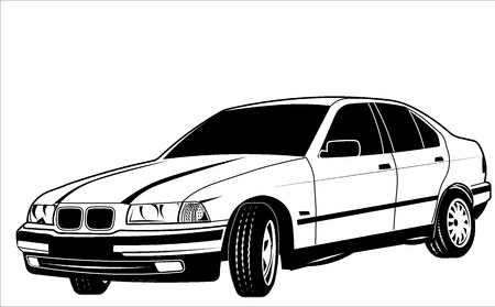 sedan: car old sedan Illustration