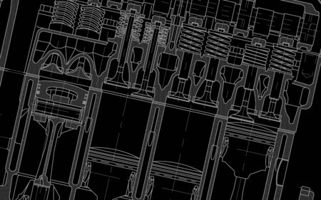 technical draw background black Vektorové ilustrace