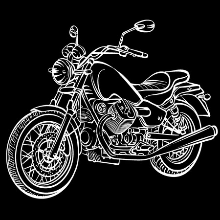 motorcycle road: motorcycle old Illustration