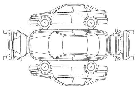 black and white line drawing: Car line crash isurance protocol Illustration