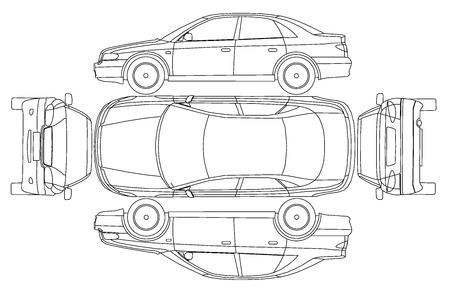 dibujos lineales: L�nea de coches protocolo isurance accidente Vectores