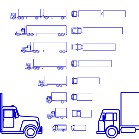 Trucks Cargo Set line icon 일러스트