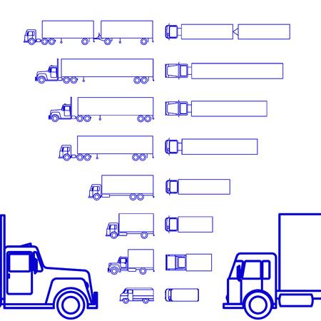 Trucks Cargo Set line icon Illustration