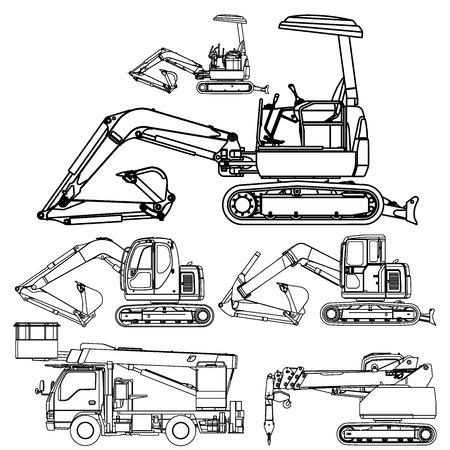 lijntekening: Graafmachine set lijn Stock Illustratie