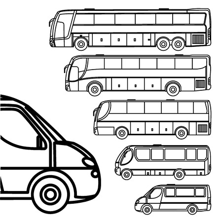 commercial van: Buses and van line drawing icon set Illustration