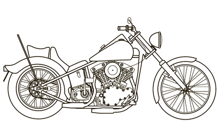 Motorcycle line drawing