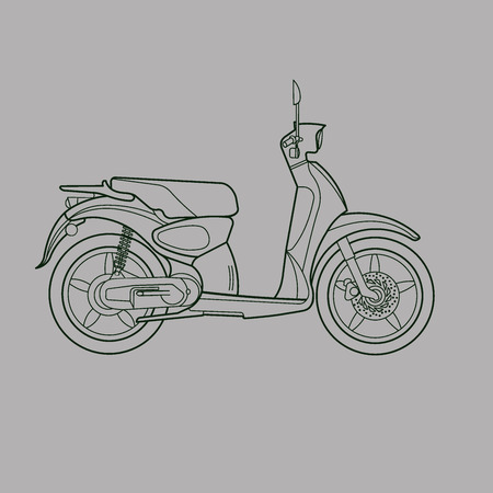Scooter line drawing Stock fotó - 44427435