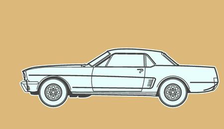 black pictogram: Car vintage design
