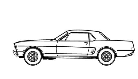 Car retro line draw Illustration