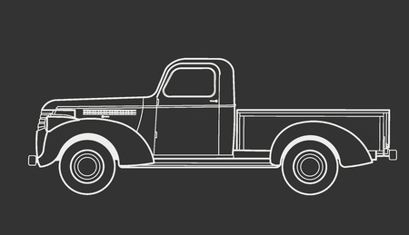 black pictogram: Car truck vintage Illustration