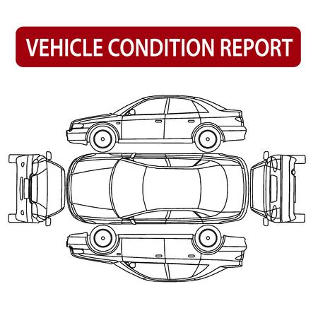 Vehículo condición informe coche lista de comprobación, inspección de daños de automóviles