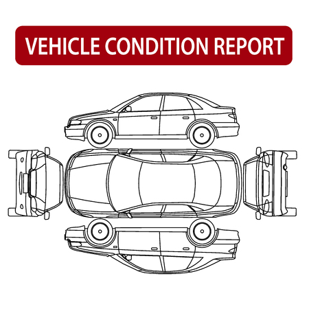 vehicle symbol: Vehicle condition report car checklist, auto damage inspection