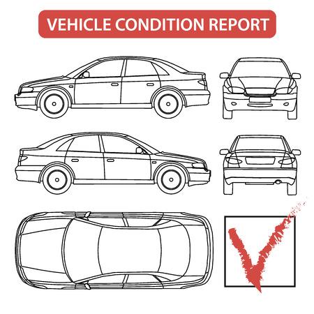 Car condition report car checklist, auto damage inspection vector