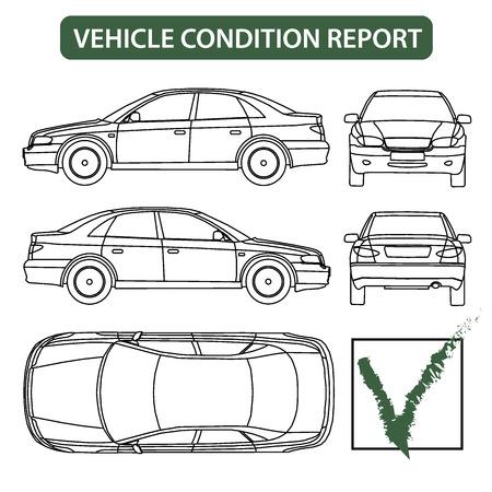 Vehicle condition report car checklist, auto damage inspection vector