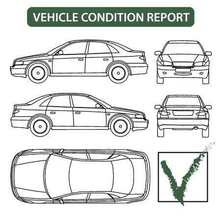 dessin au trait: Liste de contr�le de la voiture de rapport sur l'�tat du v�hicule, vecteur d'inspection de dommages auto