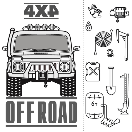 Car off road 4x4 truck icons 일러스트