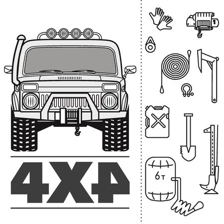 Car off road 4x4 truck icon set  イラスト・ベクター素材