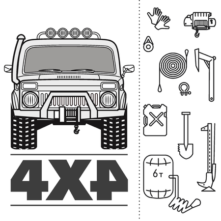 Car off road 4x4 truck icon set Vectores