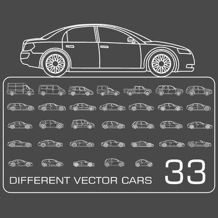 coupe: Auto Icons set Illustration