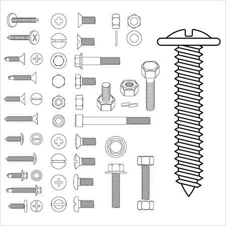 bolts and nuts: Screw and nuts big set